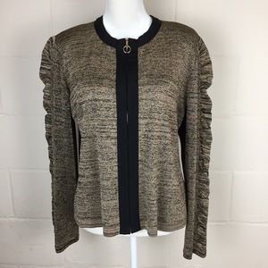 exclusively misook gold shimmer zip ruffle sleeve